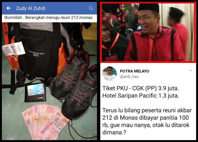 Kapitra Caleg PDIP Tuding Peserta Reuni 212 Dibayar Rp100 Ribu, Warganet Geram