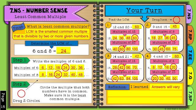 7th Grade Math Digital Interactive Notebook