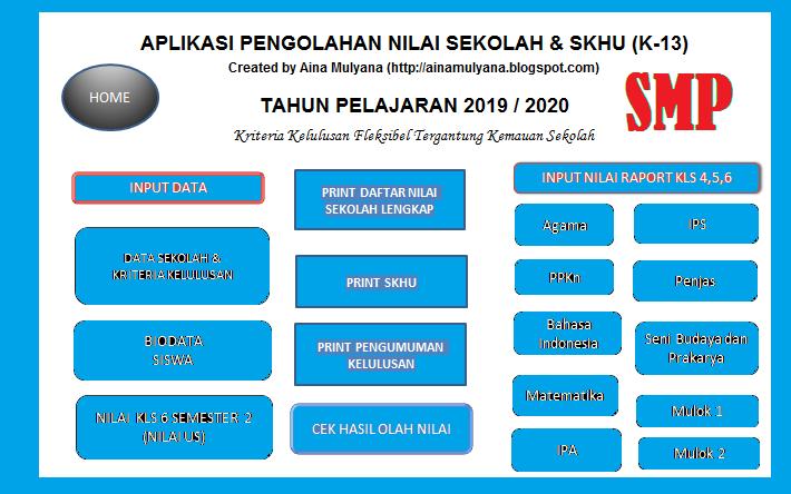 Aplikasi SKHU SMP Kurikulum 2013 Tahun 2020