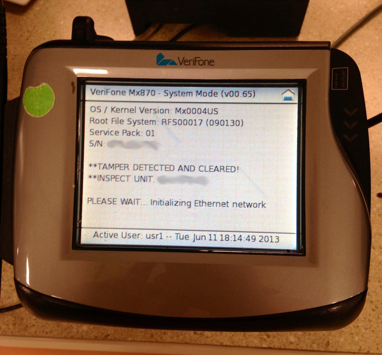 verifone reset Crashpad 1.0: Verifone Mx870