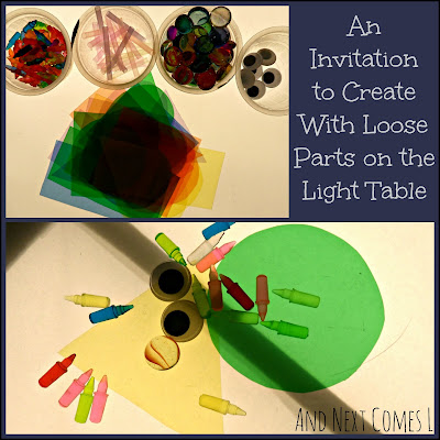 An invitation to create with loose parts on the light table from And Next Comes L
