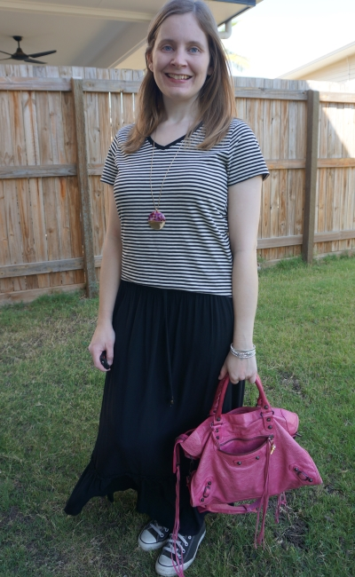monochrome black spring maxi skirt stripe tee outfit with pink accessories Balenciaga sorbet city | away from blue