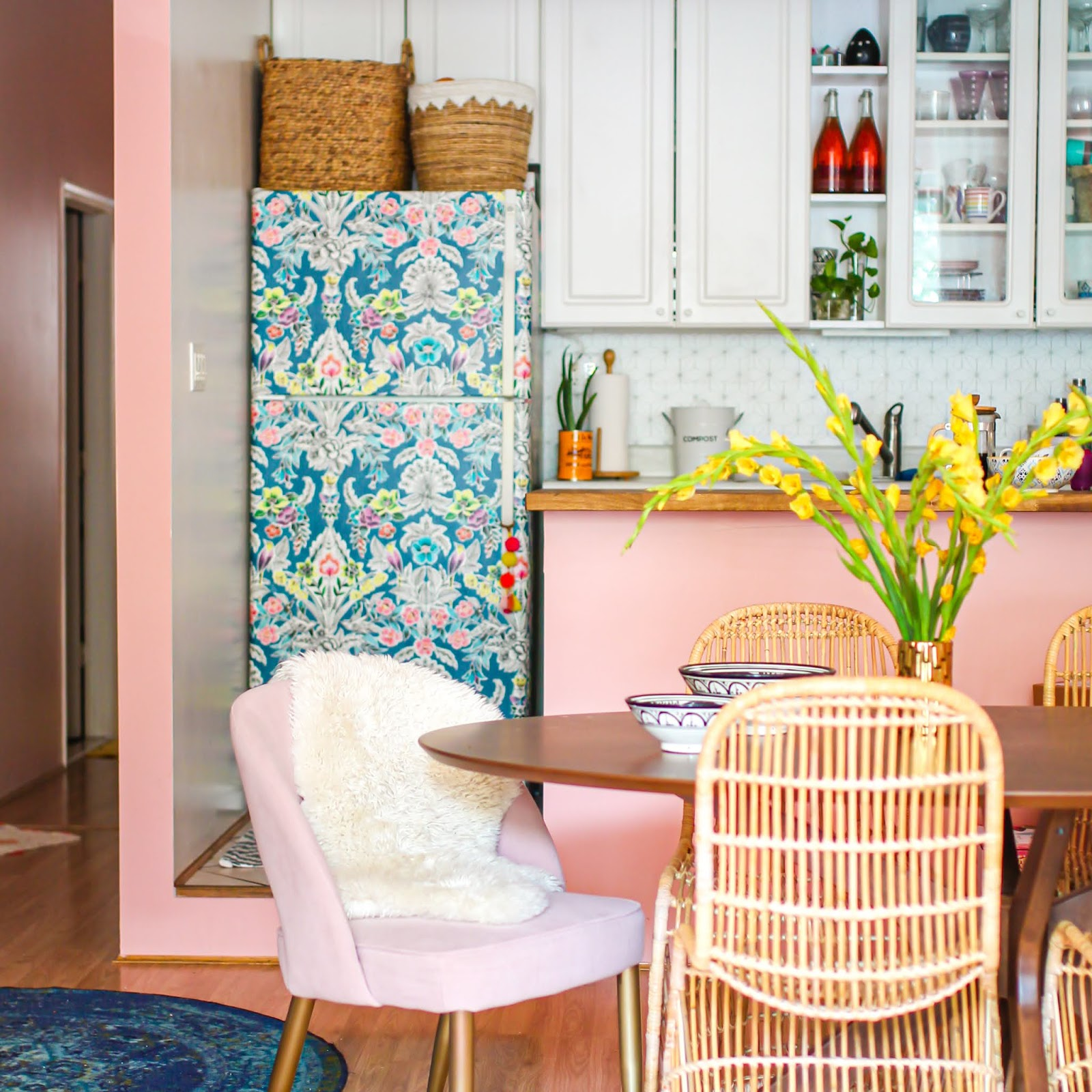Yep It S Time To Give That Ugly Fridge A Whole New Life With Removable Wallpaper Tfdiaries By Megan Zietz