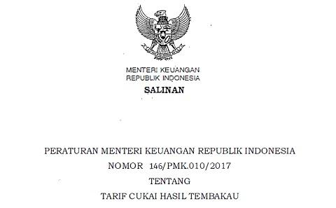 PMK 146/PMK.010/2017 Tentang Tarif Cukai Hasil Tembakau