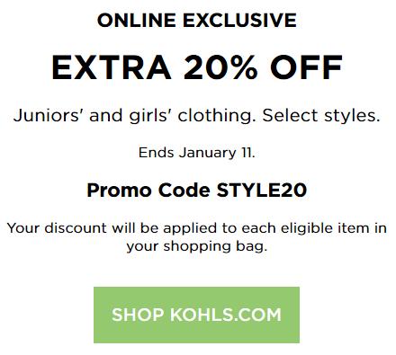 Kohl S Coupon 20 Off Juniors Girls Apparel Kohls Cash Coupons