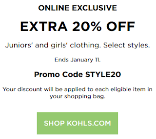 Kohl's Coupon 20% OFF Juniors Apparel 2017