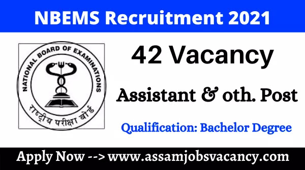 NBEMS Recruitment 2021: 42 Vacancy Available for Assistant And Accountant Post