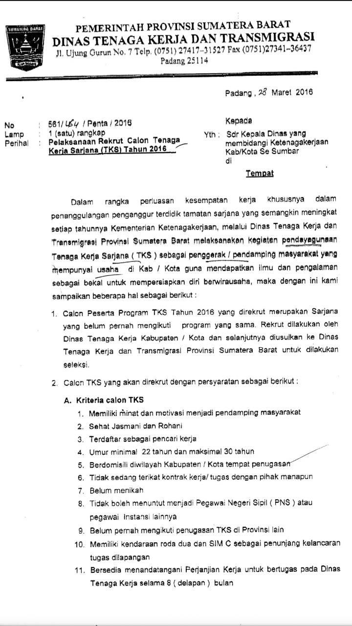 Lowongan Kerja Sumatera Barat (Tenaga Kerja Sarjana)