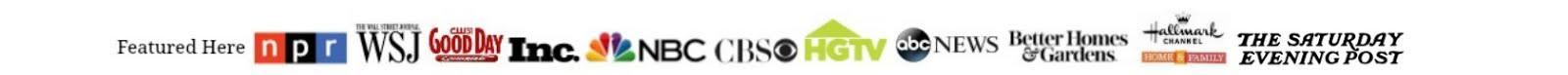Lisa Steele featured on npr, WSJ, Inc., NBC, CBS, HGTV, abc News, Better Homes & Gardens, Hallmark Channel, The Saturday Evening Post