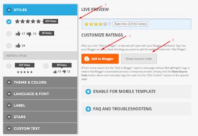 Cara membuat Rating Bintang di Setiap Posting Blog
