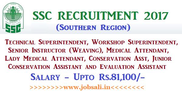 SSC SR Recruitment 2017, SSC Vacancy in Tamilnadu, Govt jobs in TN