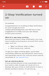 Google 2 step verification turned on