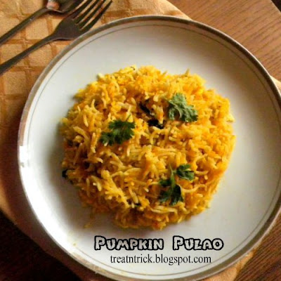 Pumpkin Pulao Recipe @ http://treatntrick.blogspot.com