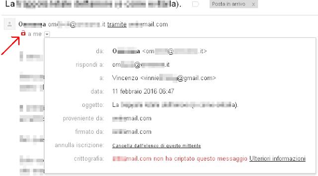 Gmail icona email non criptata da TLS