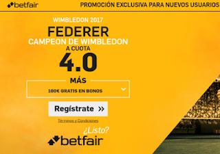 betfair supercuota 4 Federer gana Wimbledon 16 julio 2017