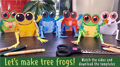 Video title page, making tree frog models with Paul Morton