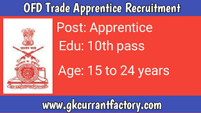 OFB Trade Apprentice Recruitment, OFB Recruitment, OFB Jobs