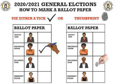 Uganda election 2021 poster with voting via tick or thumbprint