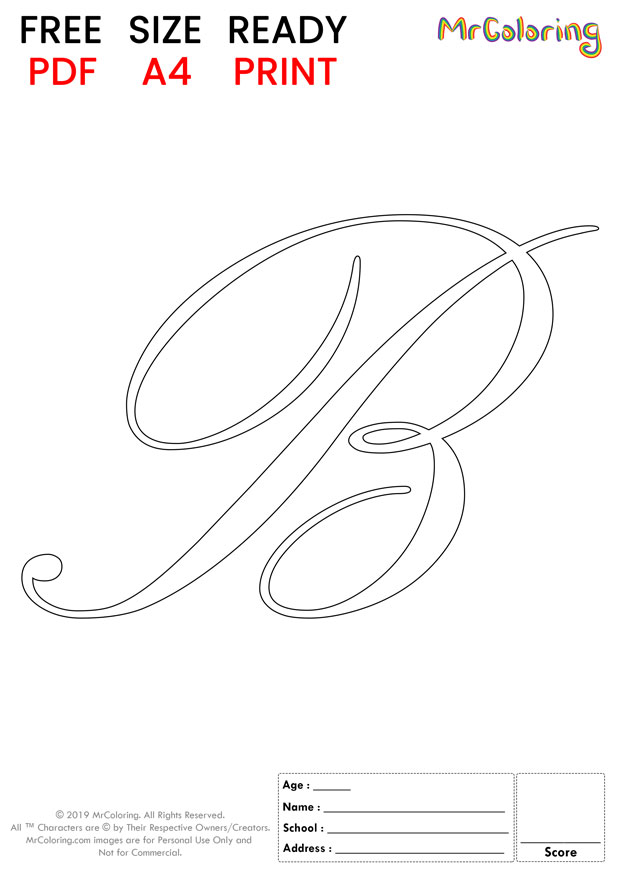 Alphabet letter B coloring pages Uppercase or Capital Script for kids