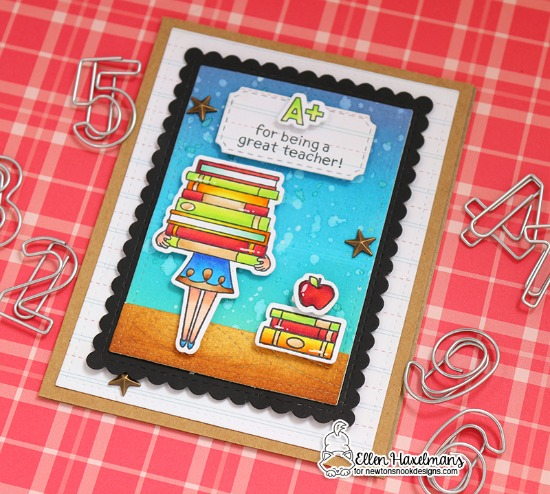 Teacher Card by Ellen Haxelmans | Classy Teachers Stamp Set by Newton's Nook Designs #newtonsnook #handmade #teachercards