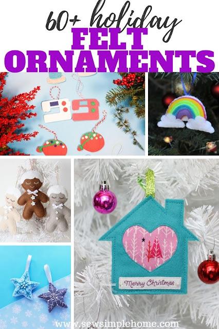 Giant list of more than 60 fantastic handmade felt Christmas ornament patterns.