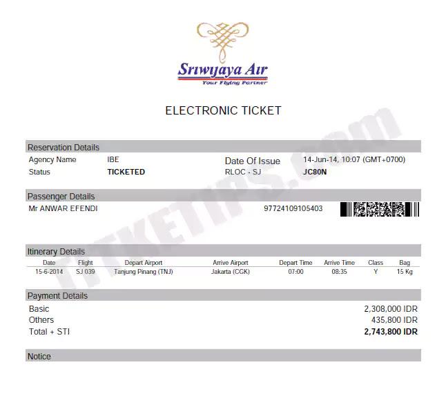Contoh Print Out E-Tiket Sriwijaya