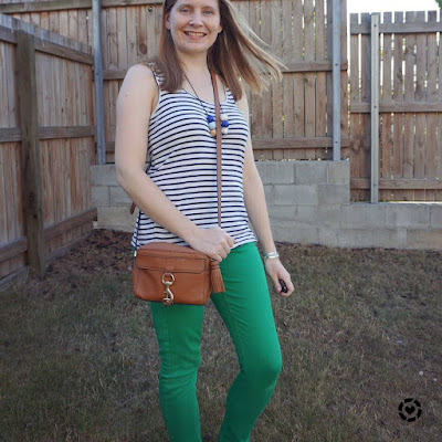 awayfromblue Instagram | striped tank with green skinny jeans and mab camera bag working from home school run spring outfit