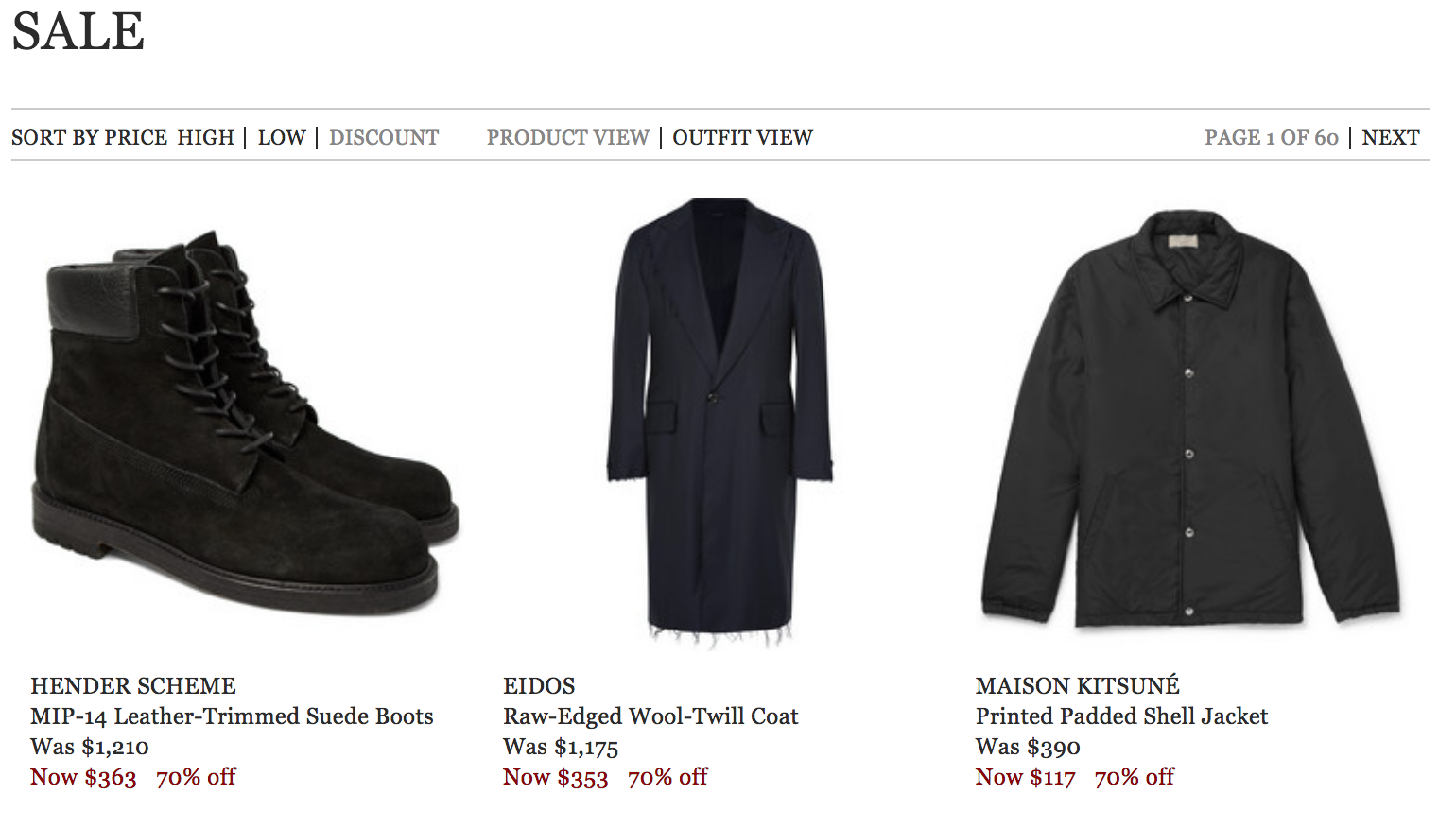 Shhh   Mr  Porter Sale Quietly Moves to 70% Off