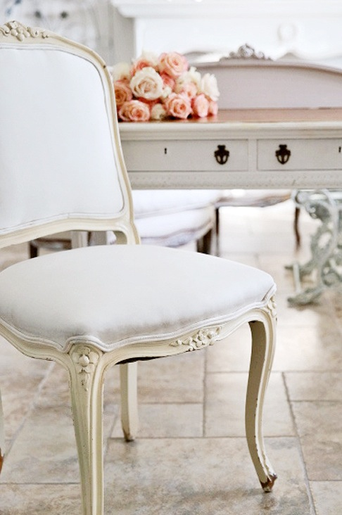 vintage white french chair