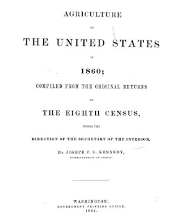 Dept. of Interior Report on U.S. Agriculture (1864). Based on 1860 U.S. Census