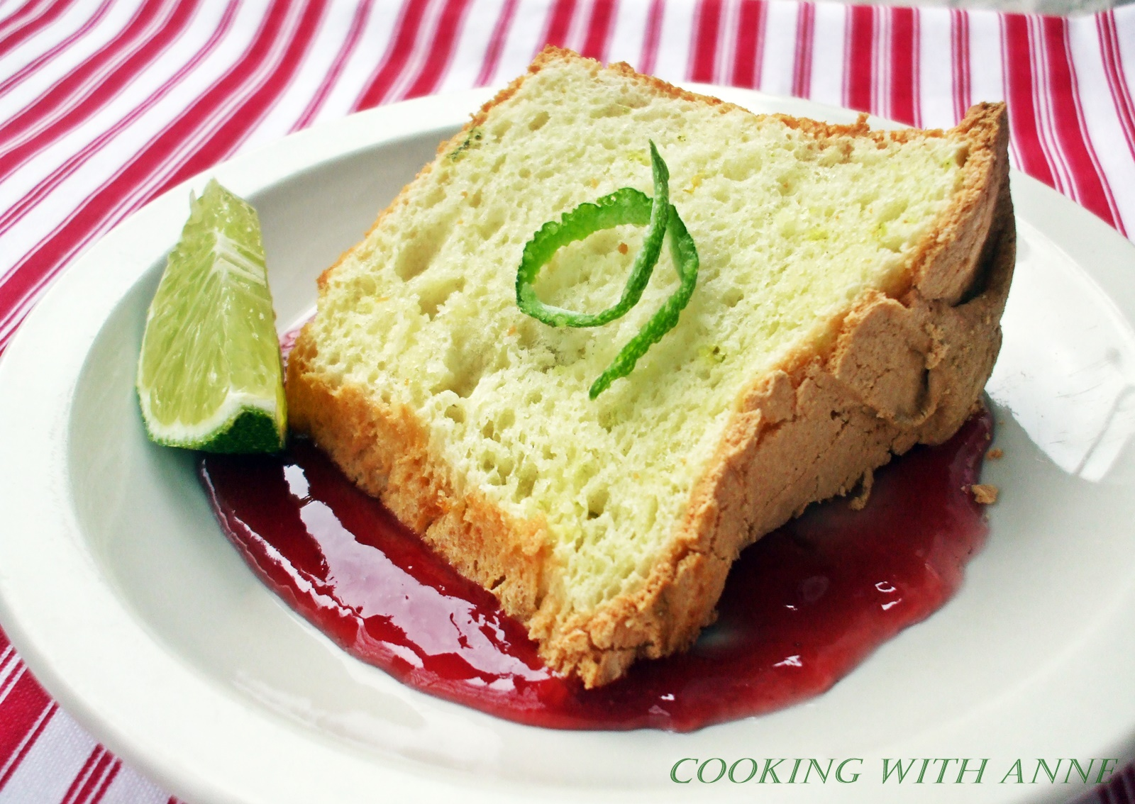 Cooking with Anne: Lime Angel Food Cake with Raspberry Sauce