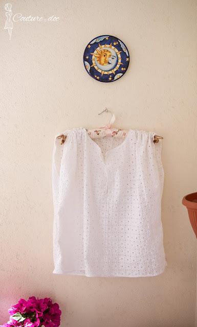 szycie, lato, bluzka, biel, bawełna