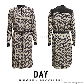 Crown Princess Victoria Style DAY BIRGER et MIKKELSEN Chevron silk blend Dress