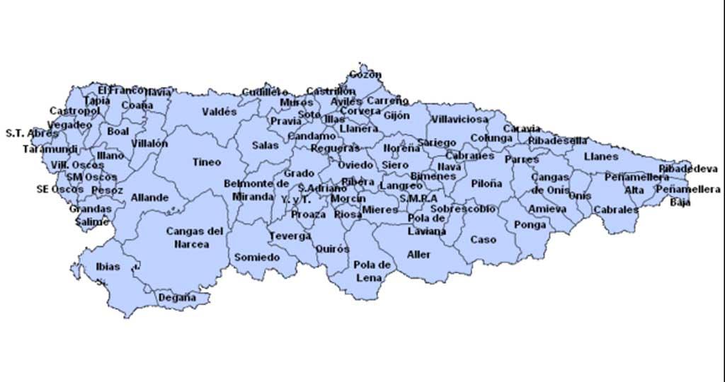 Mapa Politico De Asturias.Asturias Mapa Politico Mapa