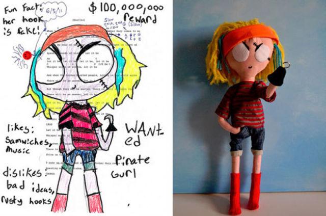 Desenhos feitos por crianças viram bonecos reais