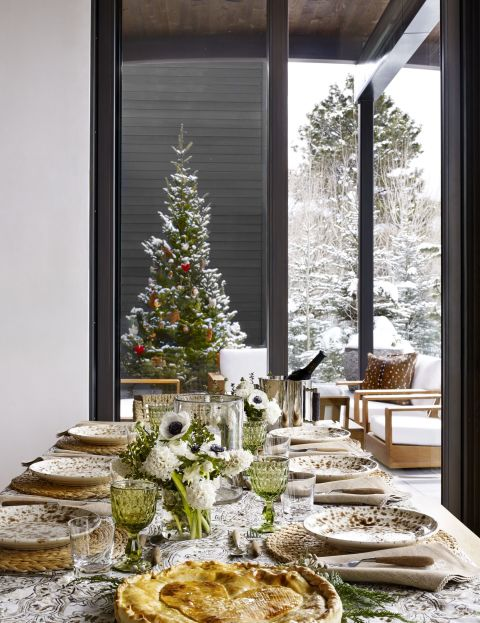 image result for beautiful tablescape Aerin Lauder Rocky Mountains home decorated for Christmas elegant sophisticated interior design