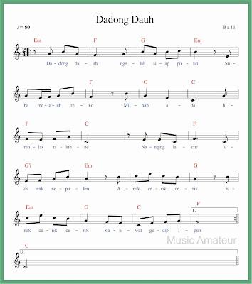 not balok lagu dadong dauh