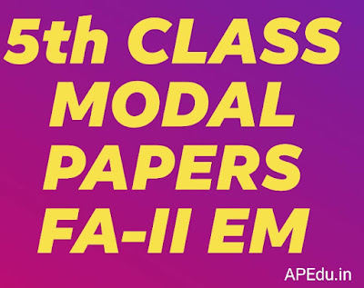 5th Class all subjects  FA-II Modal papers for English medium