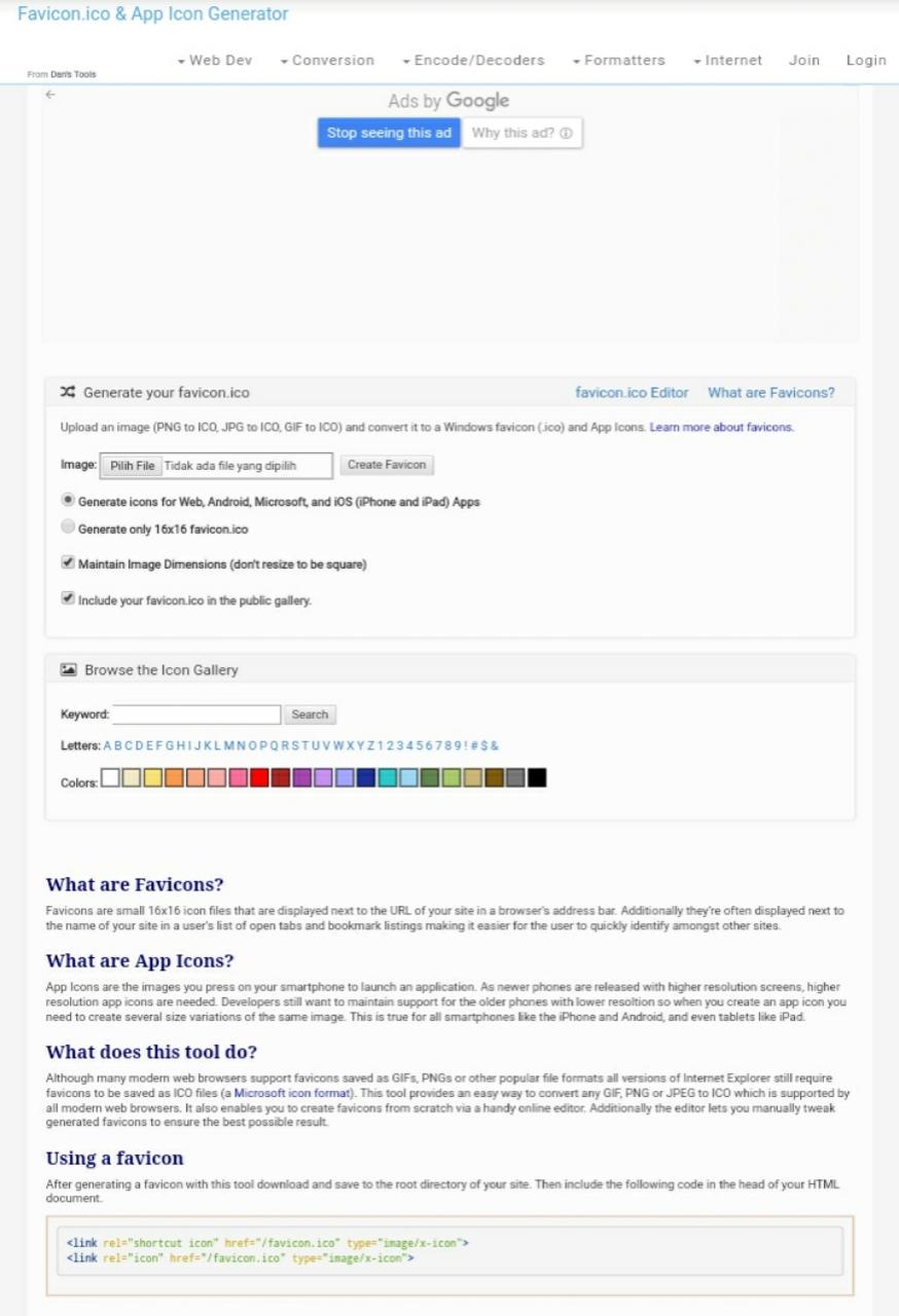 Situs web untuk mengubah ukuran gambar favicon