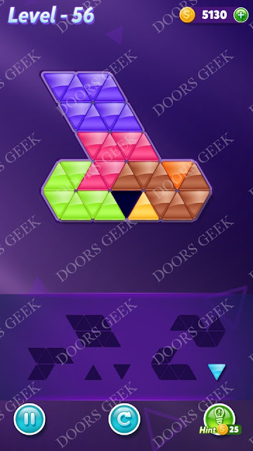 Block! Triangle Puzzle Advanced Level 56 Solution, Cheats, Walkthrough for Android, iPhone, iPad and iPod