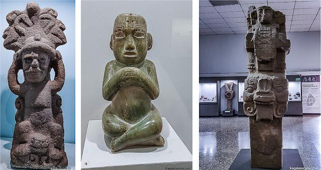 Esculturas maias expostas no Museu Nacional de Arqueologia e Etnologia, Cidade da Guatemala