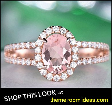 Ring Vintage Moissanite Ring, Oval Cut   Morganite Ring Diamond Wedding Ring Gemstone Ring