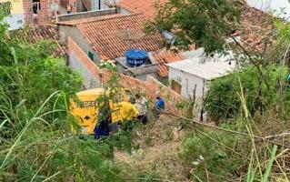 Carro dos Correios desce barranco e atinge muro de casa em Jaguaquara
