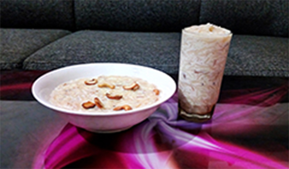 Semiya Payasam - Recipe - How to make Semiya Payasam - vermicelli,image with a bowl of semiya payasam and a full glass of semiya payasam on a table,