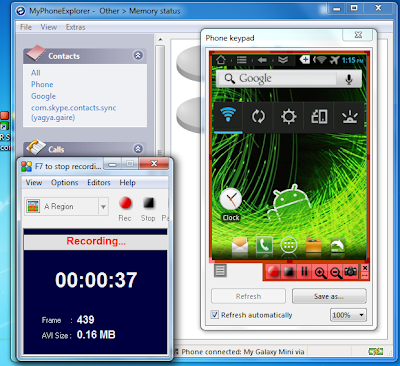 Recording the video of android handset using MyPhoneExplorer.