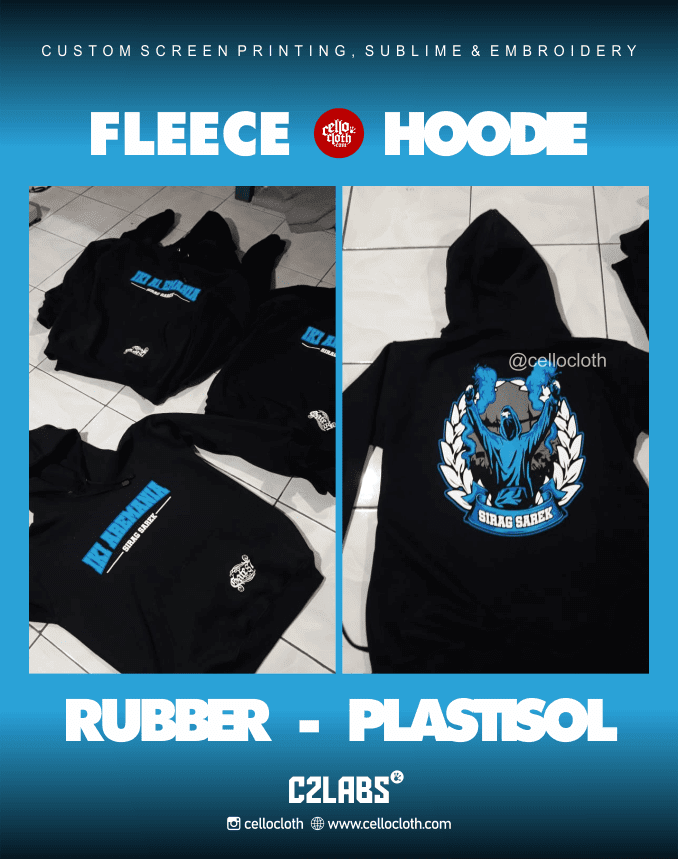 Fleece Hoodie Custom Ink Rubber Plastisol - Konveksi Jaket Jogja