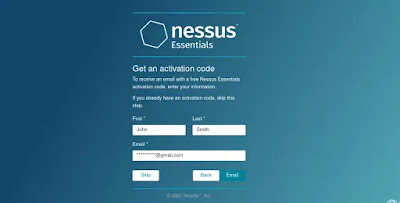 Nessus setup form fill up