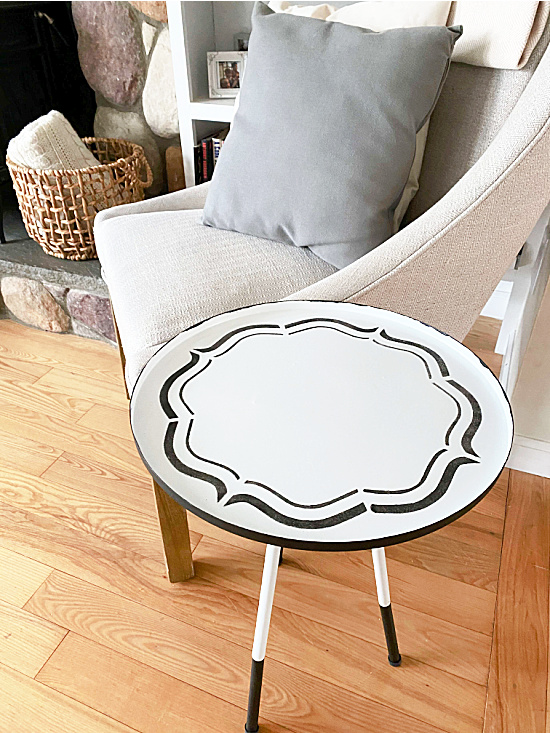 side table next to a chair in the living room