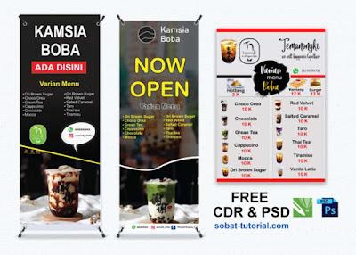 Aneka Desain Banner Minuman Boba Free Template CDR