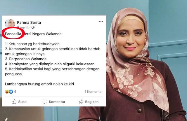 Gegara Posting Pancasila Versi Wakanda, Rahma Sarita Dipecat dari Staf Ahli Wakil Ketua MPR